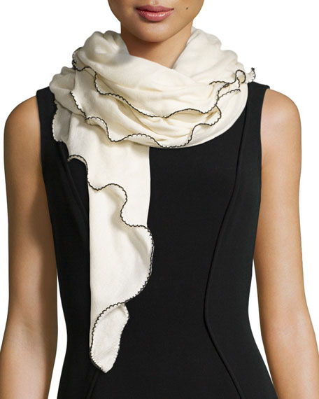 La Fiorentina Rolly Scalloped Knit Cashmere Scarf, White/Black