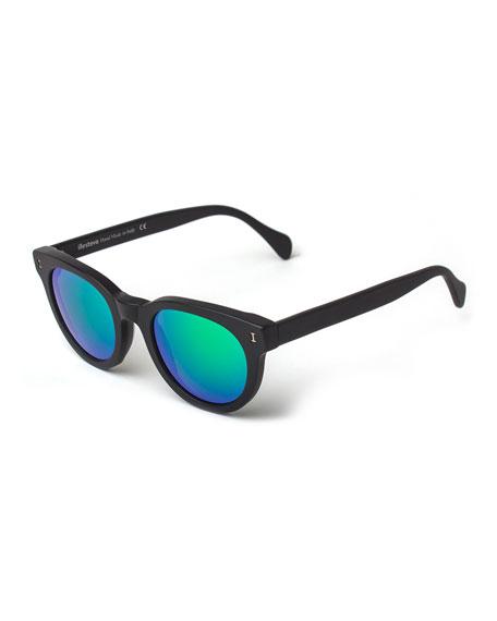 Illesteva Greenport Mirrored-Lens Sunglasses, Black/Green