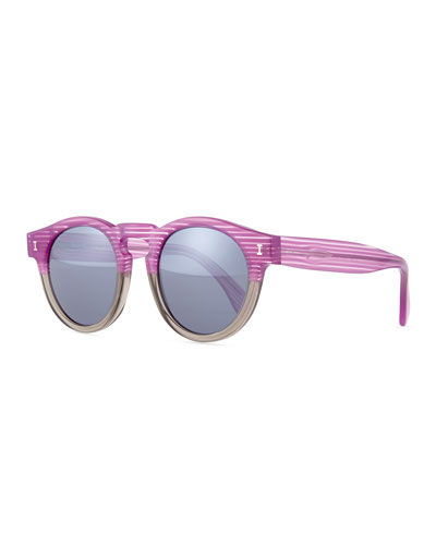 Leonard Mirror Round Sunglasses, Purple/Gray Stripes