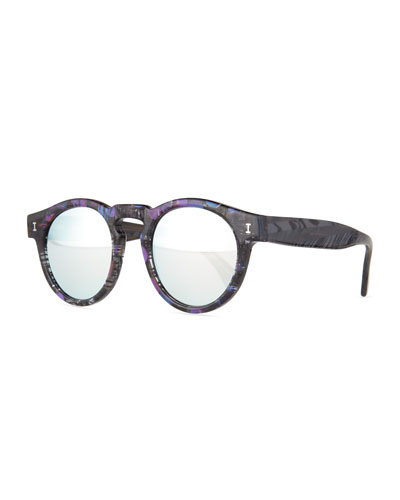 Leonard Printed Mirror Sunglasses, Blue/Purple