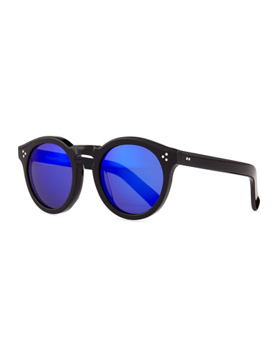 Leonard II Sunglasses, Black/Blue Mirrored