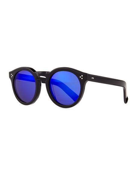 Leonard II Sunglasses, Black/Blue Mirrored