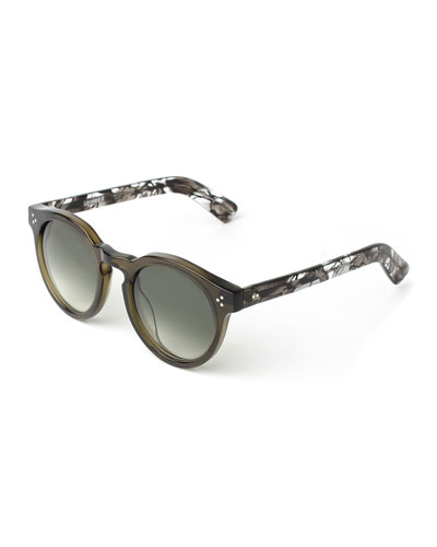 Leonard II Round Sunglasses, Green Spider