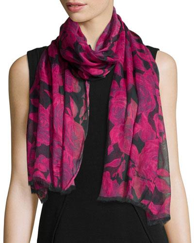 Rose-Print Fringe Scarf, Pink