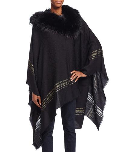 Fur-Trim Wool-Blend Poncho, Black