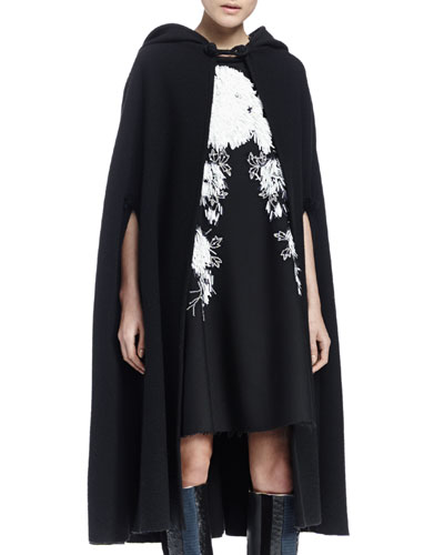 Wool-Blend Hooded Cape, Black