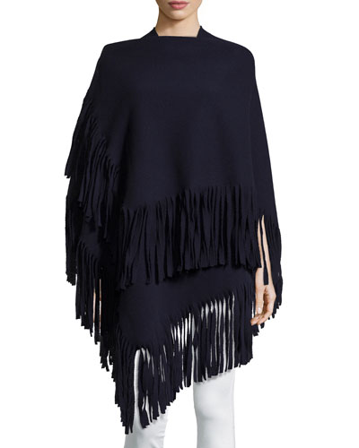 Felted Knit Fringe-Trim Poncho, Navy
