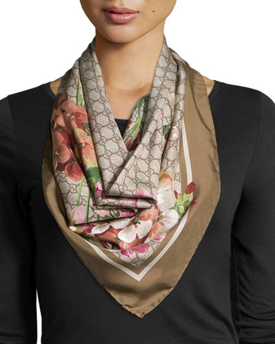 Floral-Print Guccissima Scarf, Taupe