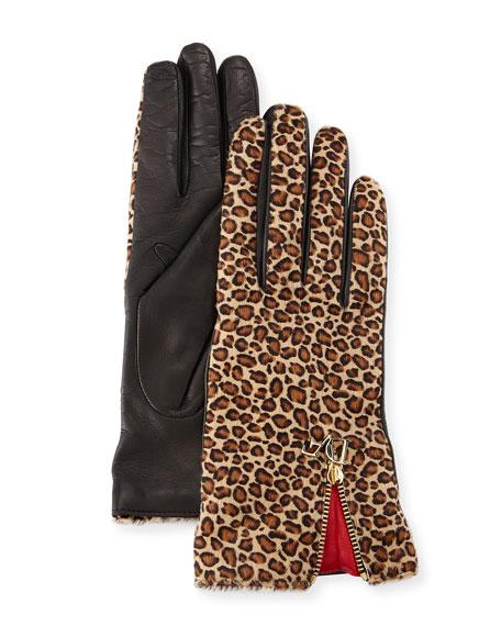 Diane von Furstenberg Leopard-Print Calf Hair/Leather Gloves