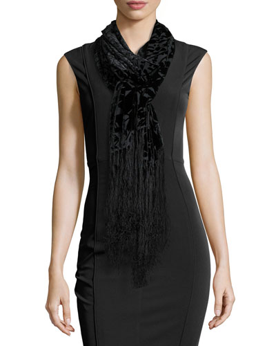 Burnout Velvet Shawl W/Fringe, Black