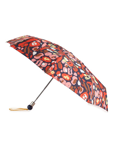 Graffiti Leopard-Print Umbrella, Red