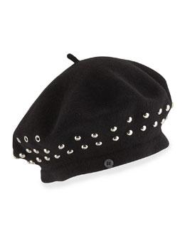 Number 1 Studded Beret Hat, Black