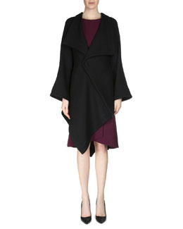 Caneva Asymmetric-Hem Cape, Black