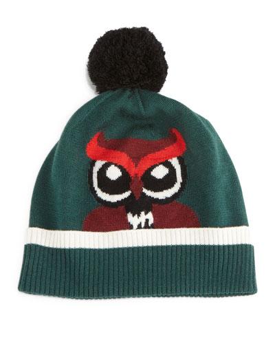 knit owl beanie hat w/pom pom