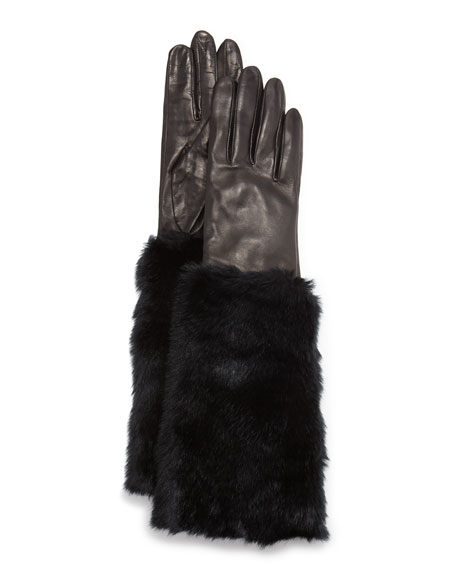 kate spade new york lambskin gloves w/faux-fur cuffs