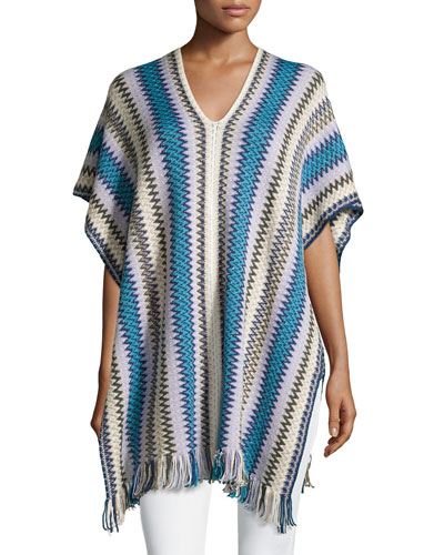 Metallic Zigzag Knit Poncho W/Fringe, Blue Multi