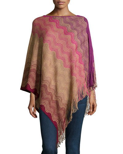 Striped-Knit Fringe-Trim Poncho, Purple/Red