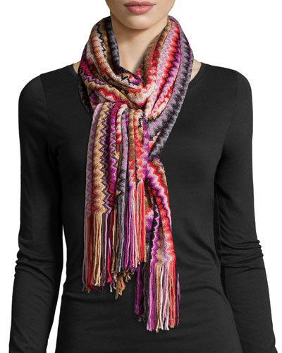 Zigzag Scarf W/Fringe, Purple/Red