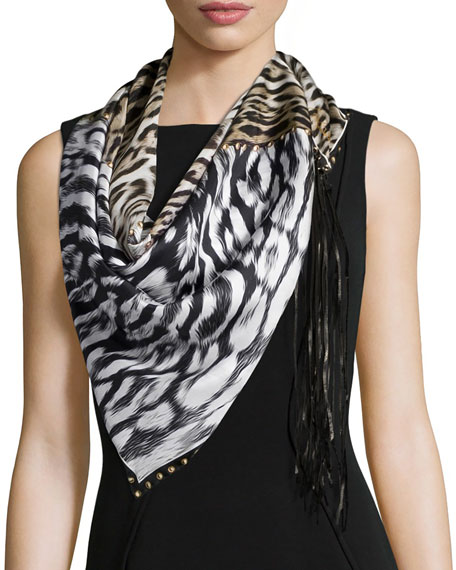 Roberto Cavalli Animal-Print Scarf w/Leather Fringe