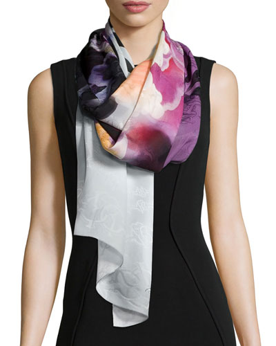 Shadow Floral-Print Scarf, Purple