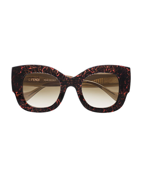Silvy Square Geo-Print Sunglasses, Pink/Brown