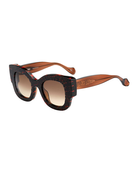 Fendi-Thierry Lasry Silvy Square Geo-Print Sunglasses, Pink/Brown