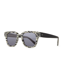 Ricky Checkered Sunglasses, Black/Cream