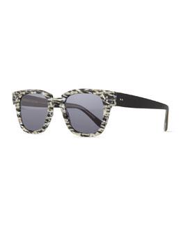 Ricky Checkered Sunglasses, Black/Cream