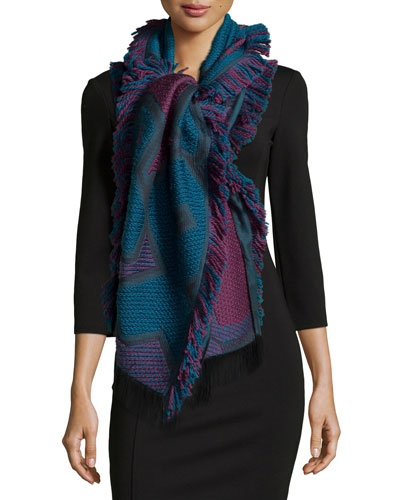 Rune Patterned Knit Scarf, Blue/Red