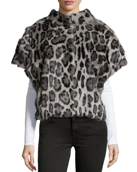 Pologeorgis Leopard-Print Fur Batwing Vest, Leopard