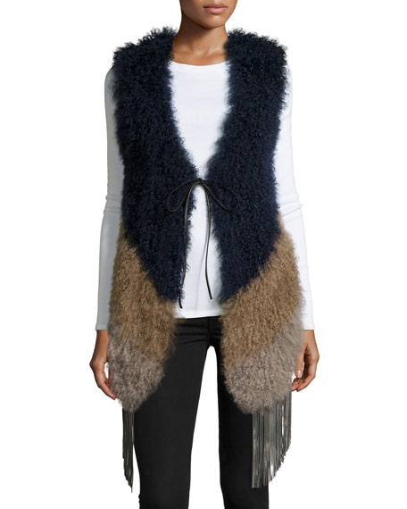 Pologeorgis Fringe Chevron Fur Vest, Camel