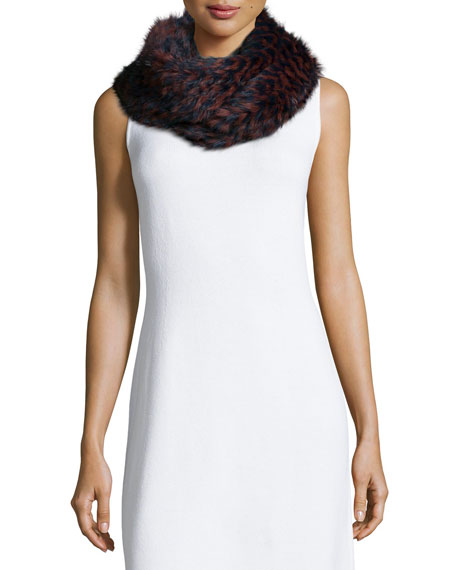 Knitted Rabbit Fur Check Infinity Scarf
