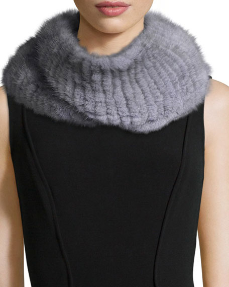 Pologeorgis Knitted Mink Fur Infinity Scarf, Gray