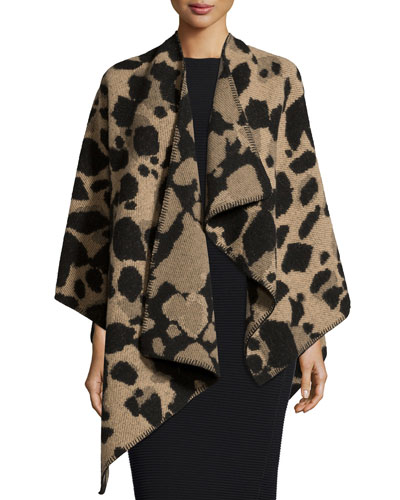 Jacquard Animal-Print Cape, Camel
