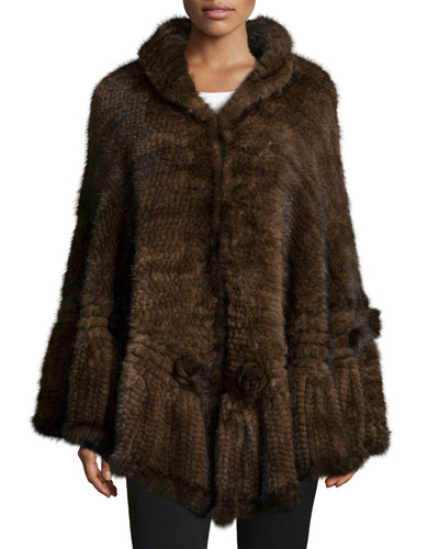 Mink Fur Cape W/Rosettes, Brown