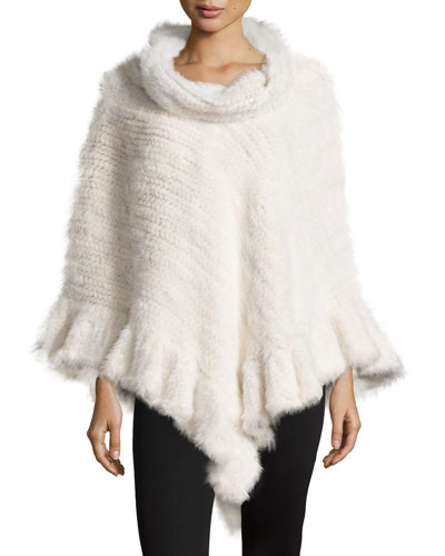 Knit Mink Fur Poncho w/Roll Collar, White