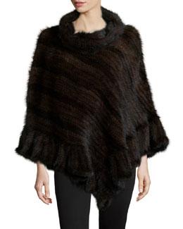 Knit Mink Fur Poncho w/Roll Collar, Brown