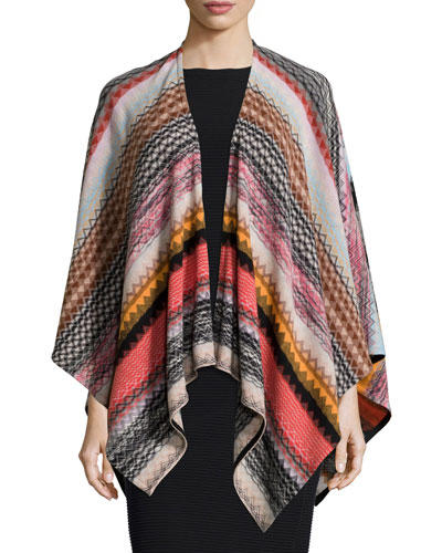 Zigzag Knit Poncho, Red