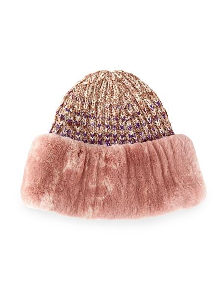 Missoni Rabbit Fur-Cuff Knit Hat, Pink