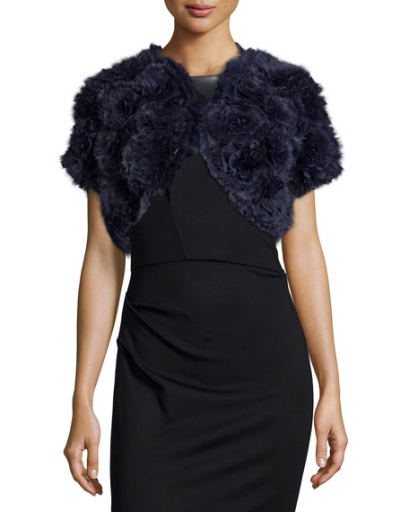 Jocelyn Rosette Rabbit Fur Shrug, Navy