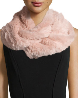 Sheared Rabbit Fur Knitted Infinity Scarf, Powder