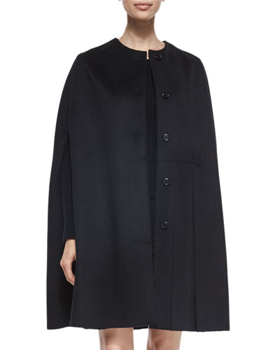 Pleated-Back Cashmere-Blend Button Cape