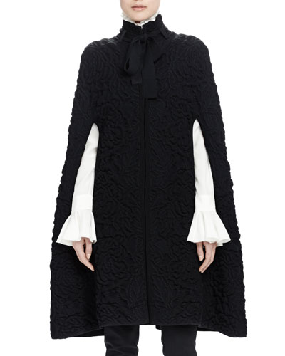 Chunky Quilted-Knit Long Cape, Black