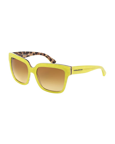 Square Plastic Sunglasses, Yellow