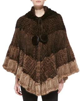 Colorblock Mink Fur Poncho, Brown