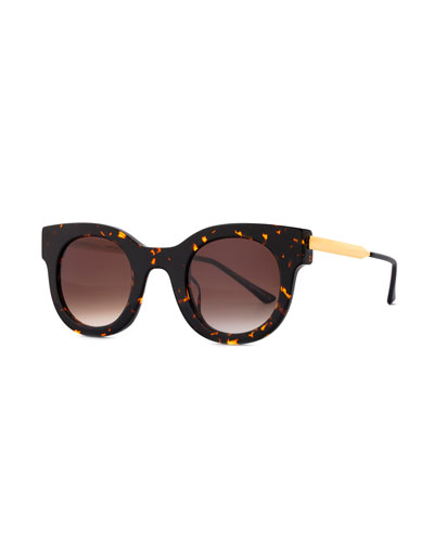 Draggy Round Sunglasses, Dark Havana