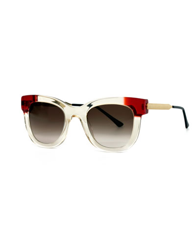 Celebrity Square Sunglasses, Clear/Red