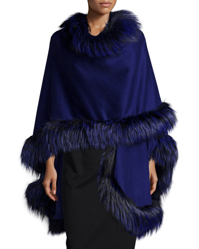 Fox-Fur-Trim Cashmere Cape, Cobalt