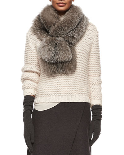 Fox-Fur Stole W/Monili-Chain Clasp, Silver Fox