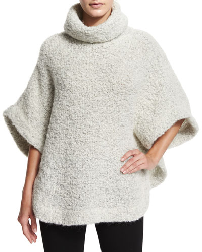 Wool-Blend Boucle Poncho, Off White